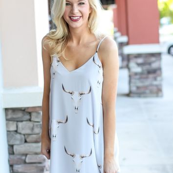 Grab The Bull Shift Dress - Pale Blue