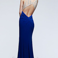 Long Open Back Formal Gown by Faviana
