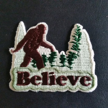 "Bigfoot Sasquatch ""Believe"" Embroidered Cloth PATCH  iron on or sew 2.5 w x 2"" h"