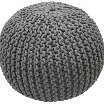 nuLOOM Cable Knit Grey Pouf