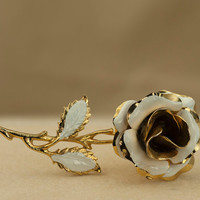 Enameled Rose Brooch White and Gold Tone Vintage