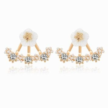 17KM New 3 Colors Crystal Flower Stud Earrings Piercing Earing Koyle 2016 Fashion Earrings for Women Bijoux Jewelry Brincos