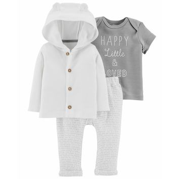 "Baby Carter's ""Happy, Little & Loved"" Tee, Hooded Cardigan & Word-Print Pants Set"