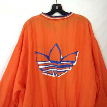 Vintage Adidas Jacket Nylon Windbreaker Hip Hop Jacket 1980s Trefoil Funky New Wave X