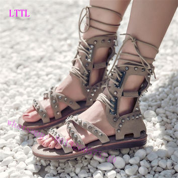 2017 New Gladiator Shoes women Cross-tied Summer Boots Flat Heels Knee High Shoes Woman Strappy Sandals wedding women shoes