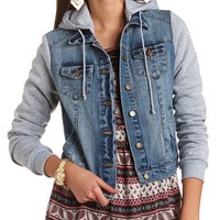 HOODED DENIM SWEATSHIRT JACKET