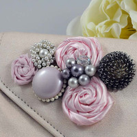 Embellished Vintage Pink Clutch Purse - Rosettes / Vintage Jewelry - Upcycled Feminine Bag - Small Evening Accessory
