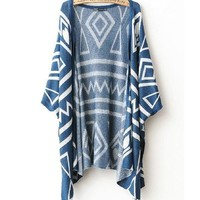 Geometric Shawl Loose Sweater Coat A 082605 from Eternal