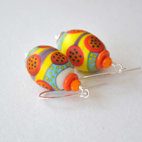 Funky Easter Egg Earrings, Orange Earrings, Artisan Earrings, Glass Earrings, Abstract Earrings