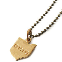 Tiny Brass Ohio Necklace