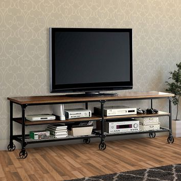 "Industrial Style 81"" TV Stand And Entertainment Center With 6 Caster Wheels, Brown and Black By Furniture Of America"