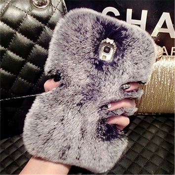 Fashion Luxury Bling Rabbit Fur Warm Soft Case Cover for IPHONE 4S 5S 5C 6 6S PLUS 7 7PLUS