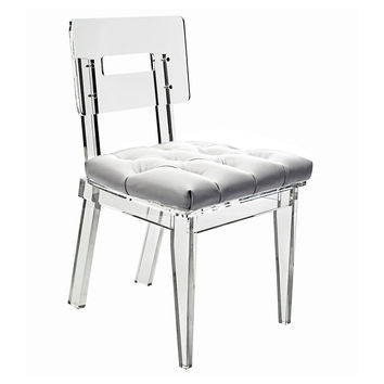 Rio Dining Chair, Clear/White, Acrylic / Lucite, Side Chairs