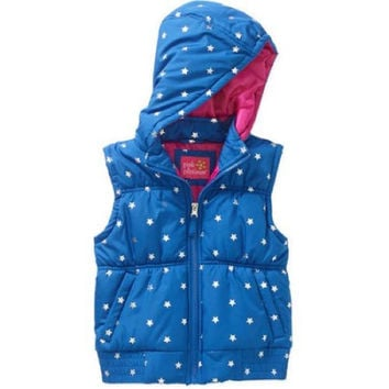Pink Platinum Toddler Hooded Foil Star Print Puffer Vest, BLue, 6x