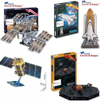 Candice guo 3D puzzle DIY toy paper building assemble solar system space station satellite model kompsat-2 kid birthday gift 1pc
