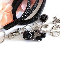 50 Shades of grey inspired Rhinestones Bling Lanyard Black compatible for keys, ID,Cellphone,USB