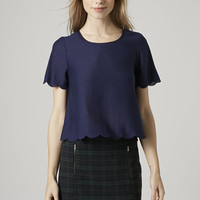 PETITE Scallop Frill Tee - Topshop
