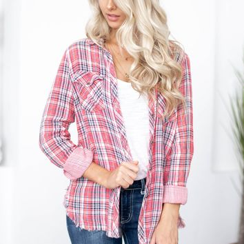 Southern Sweet Frayed Hem Plaid Top
