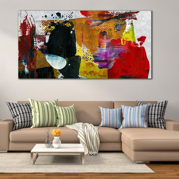 Abstract Painting Home Decor - Oil Paints Framed Print for Home of Office Decoration, Abstract Modern Art Print