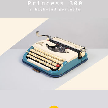 RESERVED /// 1960's KUKA Princess 300 Typewriter. Ivory and blue. Refurbished and fully functional. Ultra portable. West Germany. With Case.