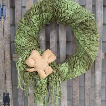 St Patrick's Day Wreath, Rustic Wreath, Primitive Wreath, Green Wreath, Shamrock - St Patrick's Day- Door Wreath or Wall Wreath