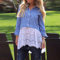 Plaid Lace-Paneled Button Down Long Sleeves Blouse