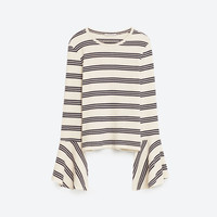 STRIPE TOP WITH RUFFLE SLEEVES DETAILS