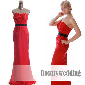 Red black sash taffeta mermaid prom dress by Rosaryweddingdress