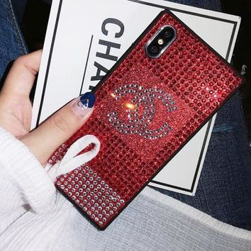 LV Chanel Supreme Trending Stylish Water Drill Mobile Phone Case All-Inclusive Iphone X iPhone Case Glitter Protective Diamond Case Chanel Red I12215-1