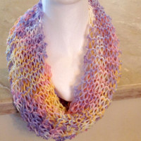 Pastel Knitted Infinity Eternity Cowl Chunky Easter Spring Scarf