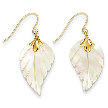 14k Gold Mother Of Pearl Leaf Dangle Earrings