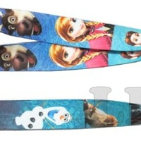 Disney's Frozen Print Lanyard Key Chain Id Badge Holder