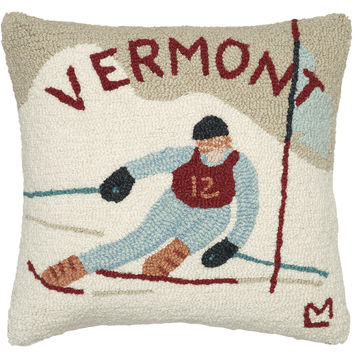 "Ski Vermont 18"" Hooked Wool Pillow"