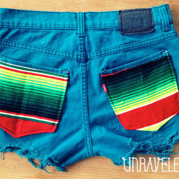 Levis Denim Shorts, Ethnic Tribal Pockets (Size SMALL to MEDIUM)