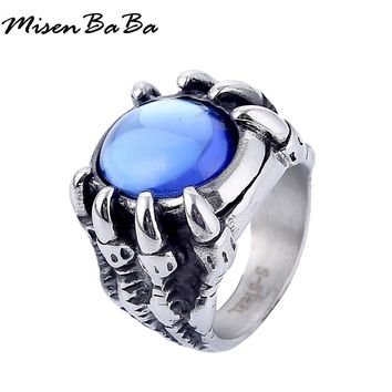 New Design Dragon Claw Blue Stone Men's Stainless Steel Ring Jewelry Punk Style Exaggerated Big Rings