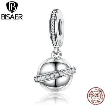 BISAER Exclusive Design Original 925 Sterling Silver Surrounded Planet Pendants Charms