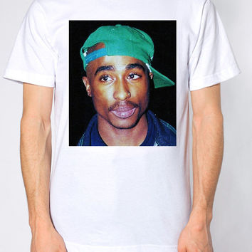Tupac White/Gray Crew Neck T-Shirt. Small to X-Large.