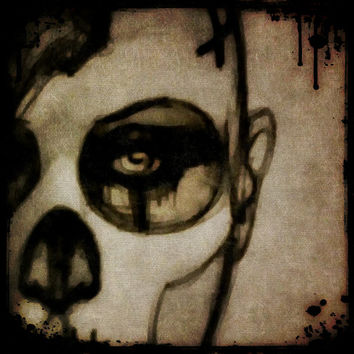 "Day of the Dead Portrait ""Lament"" on stretched canvas"