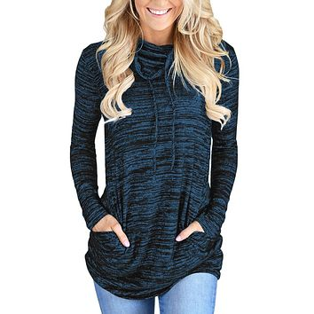 Heather Blue Cozy Cowl Neck Pockets Drawstring Sweatshirt
