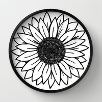 Sunflower Wall Clock by Brenna Whitton