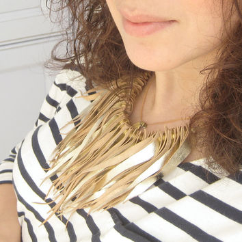 Statement Bib  Necklace in Gold Leather and Chain - Boho Chic Style Gypset Necklace
