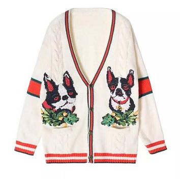 """GUCCI"" Classic Popular Women Cute Dogs Pattern Long Sleeve V Collar Knit Cardigan Jacket Coat"