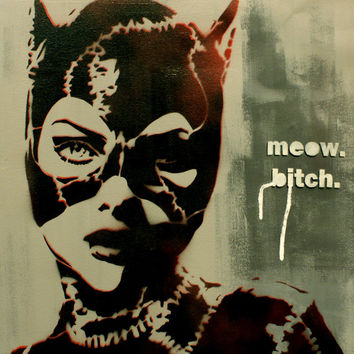 CATWOMAN Portrait BATMAN RETURNS 20x20 Original Graffiti Pop Art Inspired Painting Comic Book Comicon Vintage Pin Up Artwork