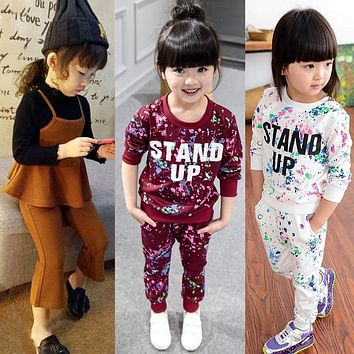 Kids Tracksuit For Girl Clothing Sets 2019 Autumn Winter Toddler Girls Clothes 2pcs Outfit Suit Children Clothing 3 4 5 6 7 Year