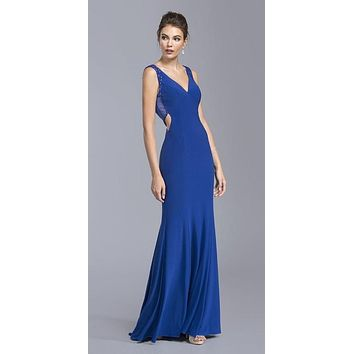 Plunging V-Neck Long Prom Dress Royal Blue with Cut-Out