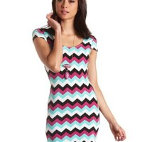 Cap Sleeve Chevron Print Bodycon Dress by Charlotte Russe - Multi