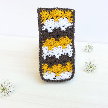 Interchangeabel  Flap for Smartphone and Iphone Case, crocheted, Samsung Galaxy S3, S4, S5 and Iphone 5