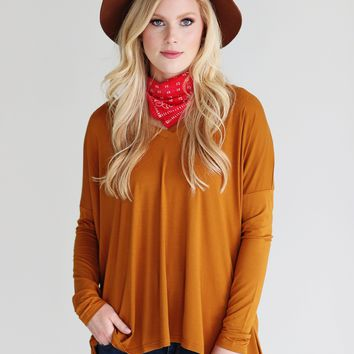 Gold PIKO V-Neck Long Sleeve Top
