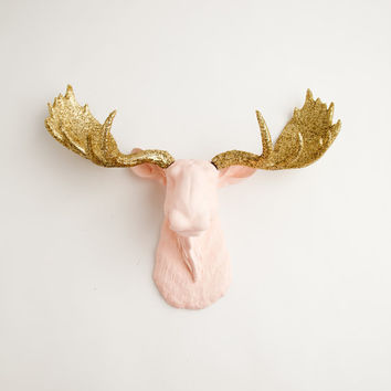 The Eva - Cameo Pink w/ Gold Glitter Antlers Resin Moose Head- Moose Resin Faux Taxidermy- Chic & Trendy
