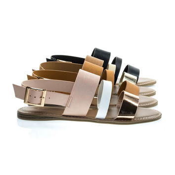 Bliss52m Rose Gold, Pink Open Toe Flat Sandal In Faux Leather 7 Metallic Straps